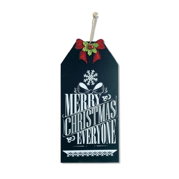 "19.25"" Merry Christmas Everyone Hanging Chalkboard Sign with Bow Christmas Decoration - black"