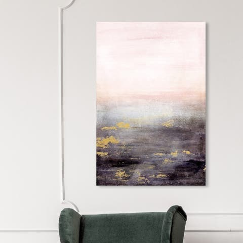 Oliver Gal 'Sail to the Moon' Abstract Wall Art Canvas Print Paint - Pink, Black