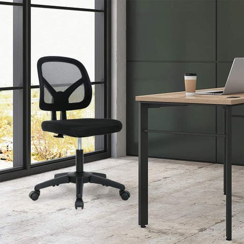 Global Pronex Ergonomic Armless Mesh Office Chair, Height Adjustable with Nylon Base - 17.7 W x 19 D x 38 H inch