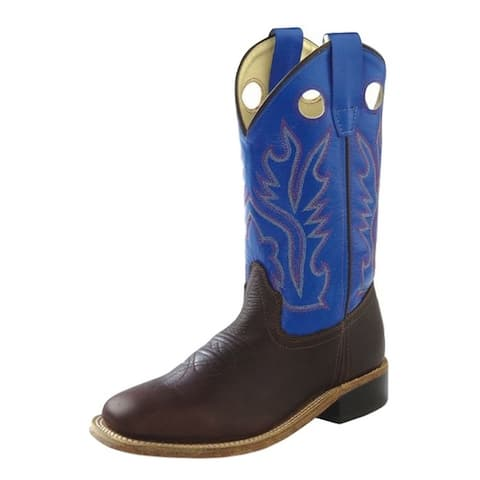 Old West Cowboy Boots Boys Leather Square Toe Thunder Oil