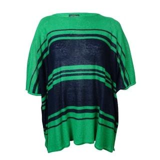 LRL Lauren Jeans Co. Women's Striped Linen Knit Poncho Top - os