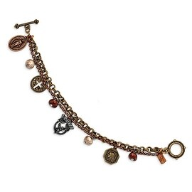 Bronze and Rosetone Simulated Glass Pearl Multi Charm Toggle Bracelet - 7.5in