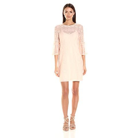 Jessica Simpson Women's Deco Lace Dress With Tulip Sleeve, Blush, 8