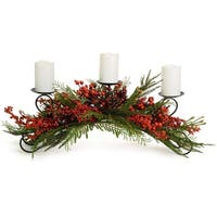 Pack of 2 Red and Green Winter Berry Wreath Candle Holders 9.5""