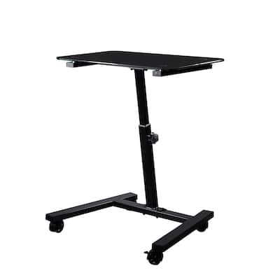 "airLIFT 23.6"" Tempered Glass Height Adjustable Mobile Laptop Desk Cart"