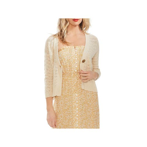 Vince Camuto Womens Cardigan Sweater V-Neck One Button - Natural Sand