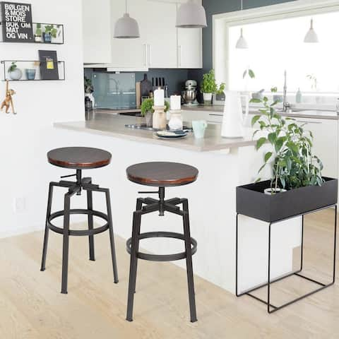 Carbon Loft Delta Swivel Walnut Adjustable Stool (Set of 2)