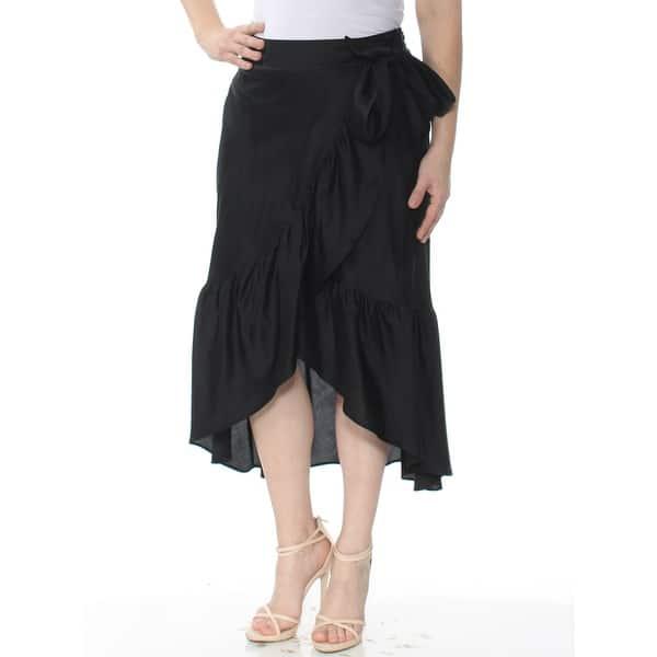 f16839a152690 RALPH LAUREN Womens Black Ruffled Midi Wrap Skirt Size: 0