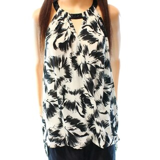 Alfani NEW Black Womens Size 12 Embellished Floral Print Tank Blouse