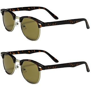 Set of 2 Pairs - Classic Clubmaster Style Tortoise Sunglasses