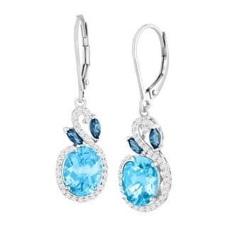 5 3/8 ct Natural London, Swiss Blue & White Topaz Drop Earrings in Sterling Silver
