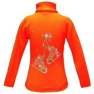 Ice Fire Skate Wear Orange Crystal Skates Jacket Girls 4-14