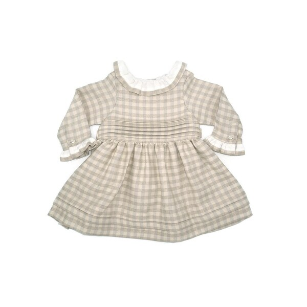 Coquelicot Baby Girls Beige Contrast Collar Checkered Pleated Dress