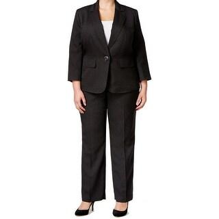 Le Suit NEW Black Womens Size 22W Plus Single Button Printed Pant Suit