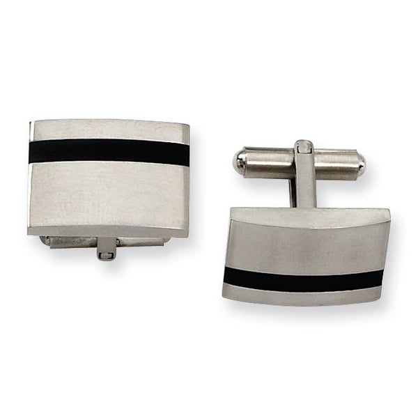 Chisel Black Accented Brushed Stainless Steel Cuff Links