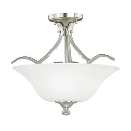 Vaxcel Lighting C0058 Cordoba 2 Light Semi-Flush Indoor Ceiling Fixture with Etched Glass Shade - 13 Inches Wide