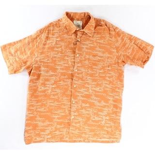 Tasso Elba Island NEW Orange Mens Size 2XL Wave Button Down Shirt