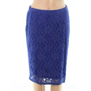 Bobeau NEW Blue Womens Small PS Petite Floral Lace Stretch Knit Skirt