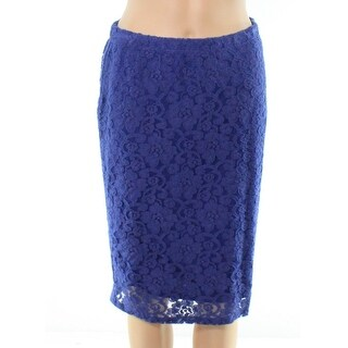 Bobeau NEW Blue Womens Small PXS Petite Floral Lace Stretch Knit Skirt