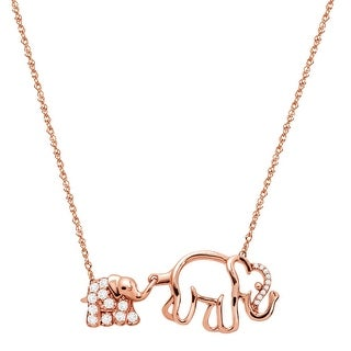 1/4 ct Natural White Topaz Mother & Baby Elephant Necklace with Diamonds in 10K Rose Gold