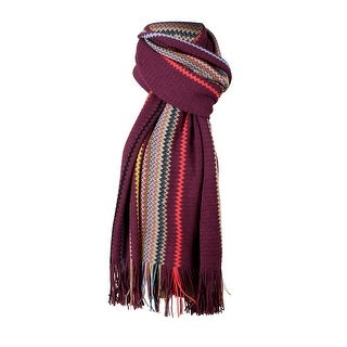 Link to Missoni Purple Crochet Knit Oversized Zigzag Fringe Scarf - 20-84- Similar Items in Scarves & Wraps
