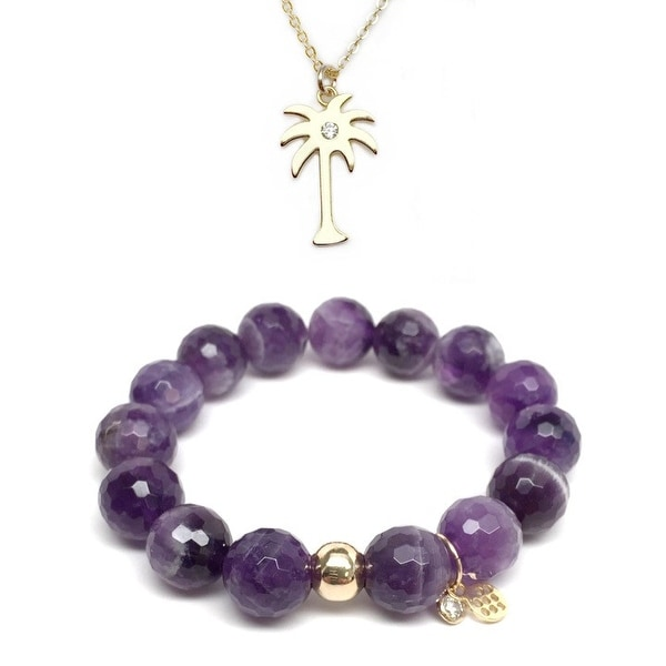 Purple Amethyst Bracelet & CZ Palm Tree Gold Charm Necklace Set