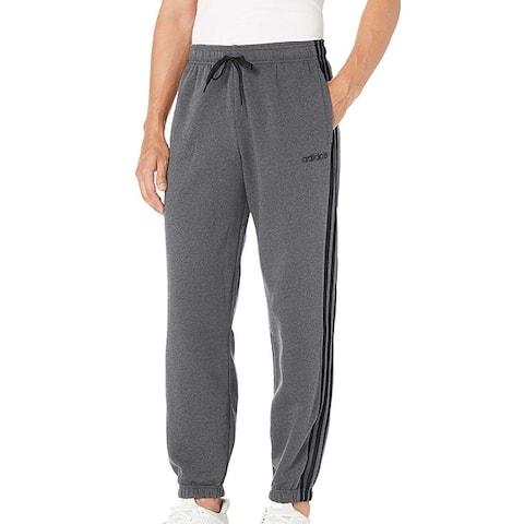 Adidas Mens Activewear Sweatpants Gray Large L Essential 3-Stripe Jogger
