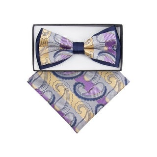Men's Navy, Yellow, Grey Paisley Pre-tied Adjustable Two-Tone Bow tie & Hanky - One size