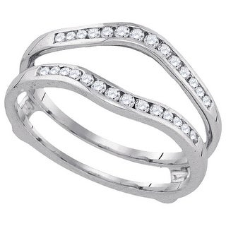14kt White Gold Womens Round Natural Diamond Ring Guard Wrap Solitaire Enhancer 1/4 Cttw