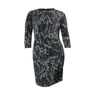 Tahari Women's Albert Chain Detail Animal Print Jersey Dress