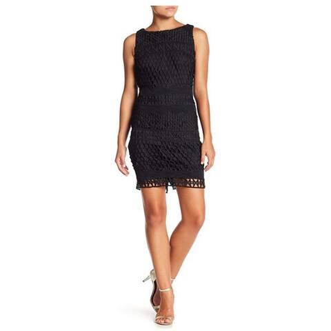 Carmen Marc Valvo Sleeveless Knit Dress, Black, 4
