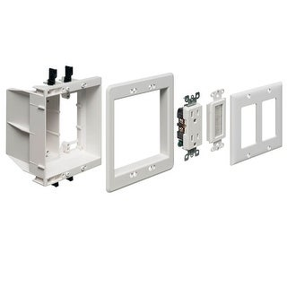 Monoprice 2-Gang Recessed Box for Power and Low Voltage Installation Kit UL/CSA Listed