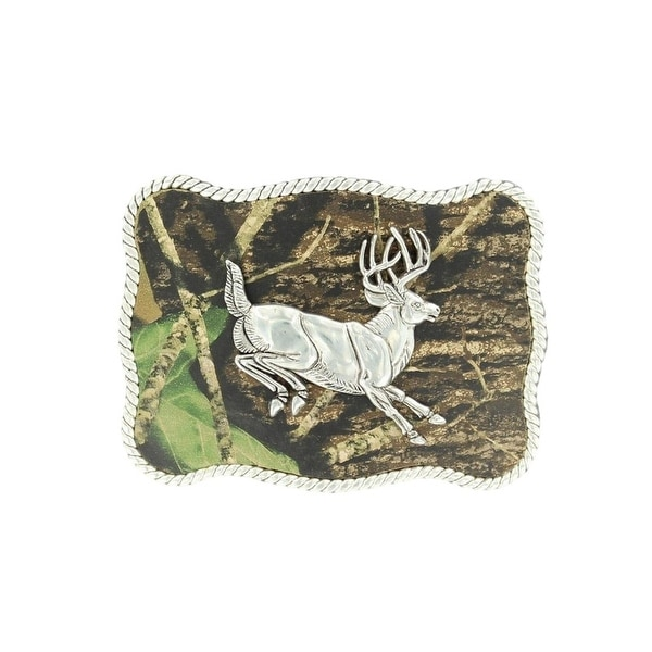 Nocona Western Belt Buckle Rectangle Buck Rope Silver Camo - 2 3/4 x 3 1/4