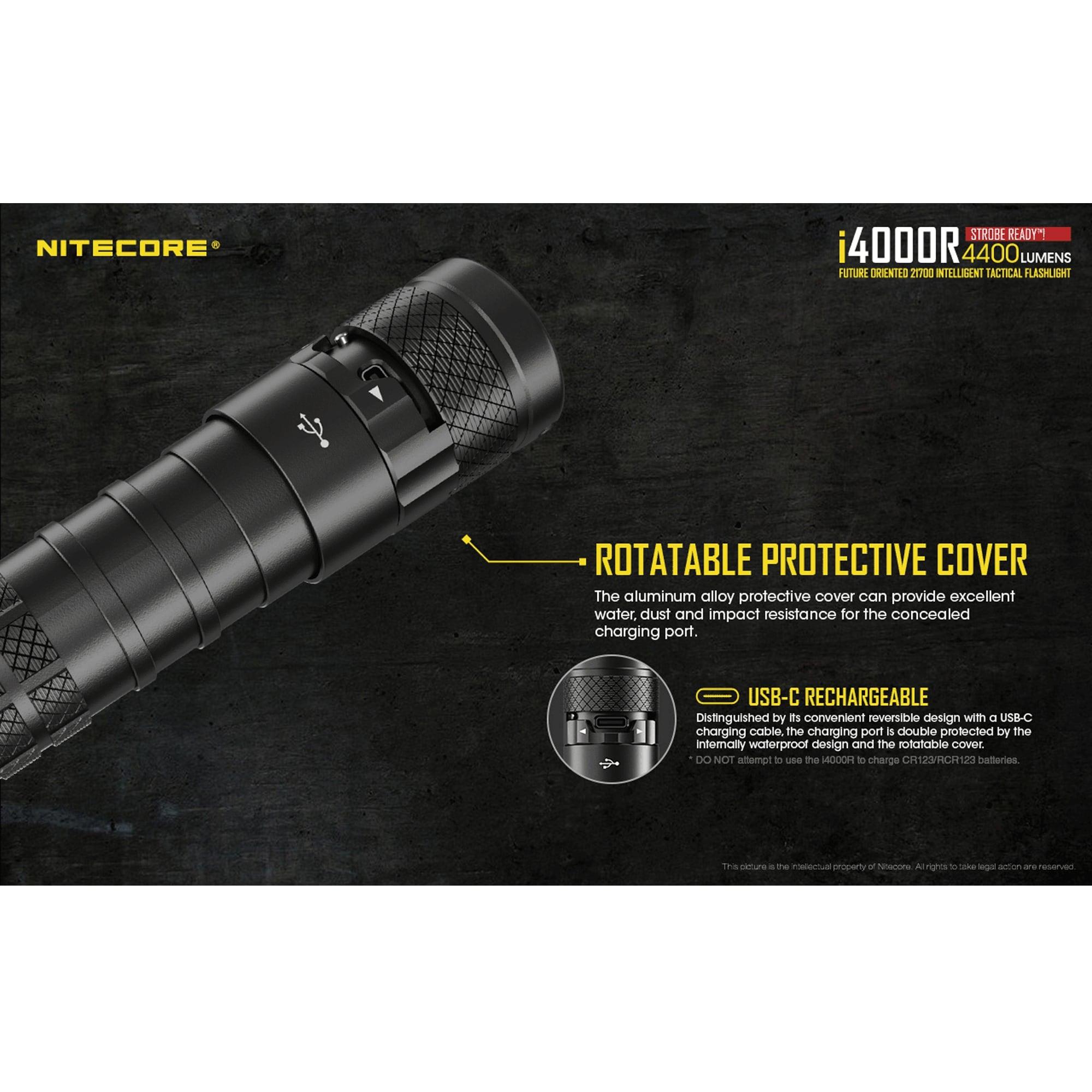 NITECORE i4000R 4400 Lumen USB-C Rechargeable Tactical Flashlight