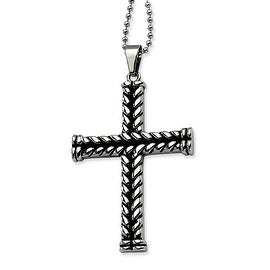 Chisel Stainless Steel Black Plated Cross Pendant 22 Inch Necklace (1 mm) - 22 in