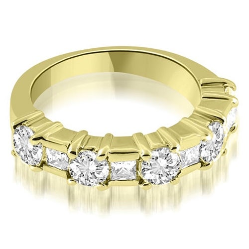 2.00 cttw. 14K Yellow Gold Round and Princess Cut Diamond Wedding Band