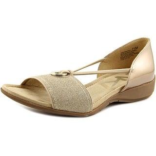 Anne Klein Sport Kameko Women  Open Toe Synthetic Gold Wedge Sandal