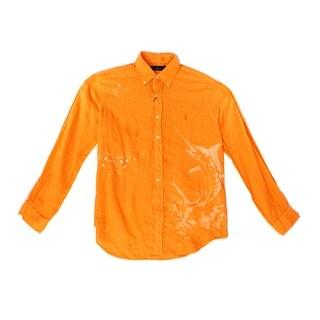 Ralph Lauren NEW Orange Mens Size Medium M Swordfish Linen Shirt