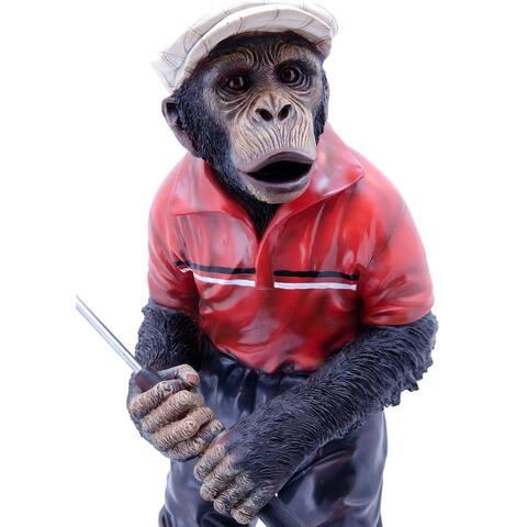 """34"""" Red and Black Golfer Monkey Outdoor Garden Statue"""