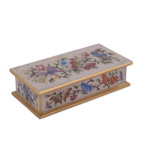 "Handmade Butterfly Jubilee In Bone Reverse Painted Glass Decorative Box (Peru) - 2"" H x 7.75"" W x 3.9"" D"
