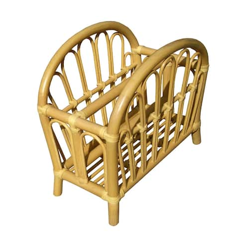 Offex Rattan Curve Magazine Rack - Natural