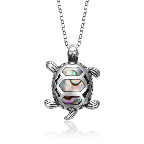 Collette Z Sterling Silver with Rhodium Plated and Opal Turtle Pendant Necklace