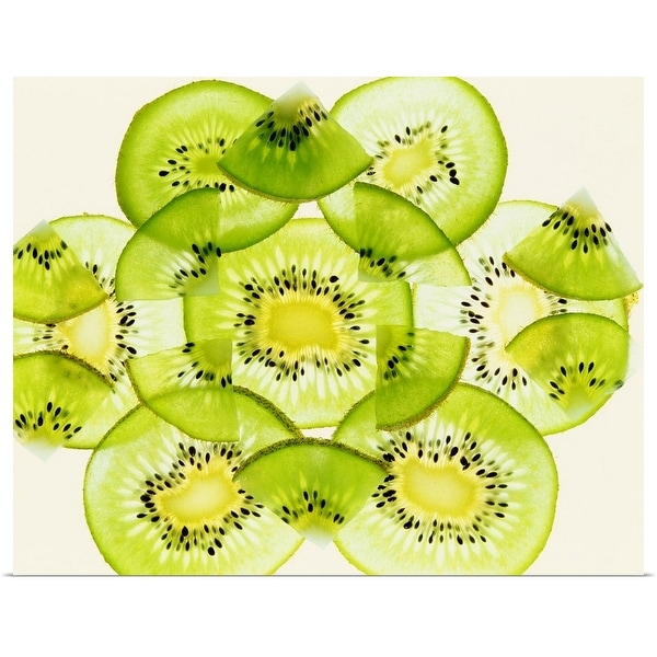 """Pieces of kiwi fruit forming a pattern"" Poster Print"