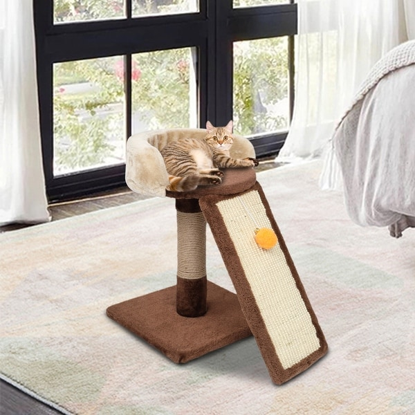 "17"" Cat Climb Holder Tower Cat Tree Brown/Beige. Opens flyout."