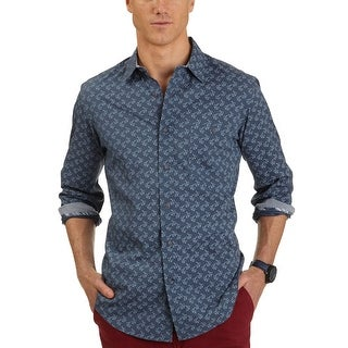 Nautica Slim Fit Anchor Print Casual Shirt Atlantic Blue X-Large