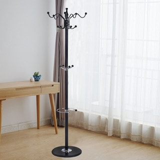 Costway 15 Hooks 70'' Metal Coat Hat Jacket Stand Tree Holder Hanger Rack w/ Marble Base