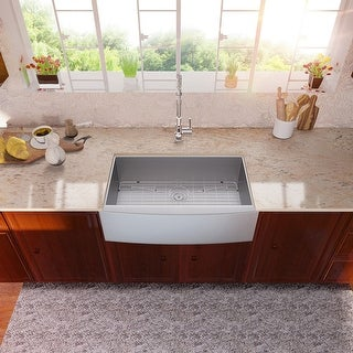 33 Inch Farmhouse Sink Apron Front Deep Single Bowl 18 Gauge Stainless Steel Kitchen Sink