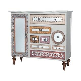 """GuildMaster 645067M6-1  Mirror Mosaic 52"""" Wide 8 Drawer Mahogany Dresser - Manor Griege"""