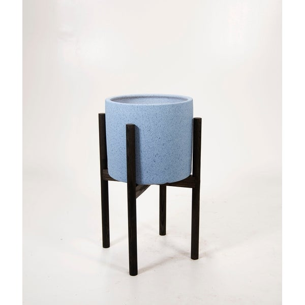 """Large Ceramic Pot 10"""" Sky Blue with Wood Stand. Opens flyout."""