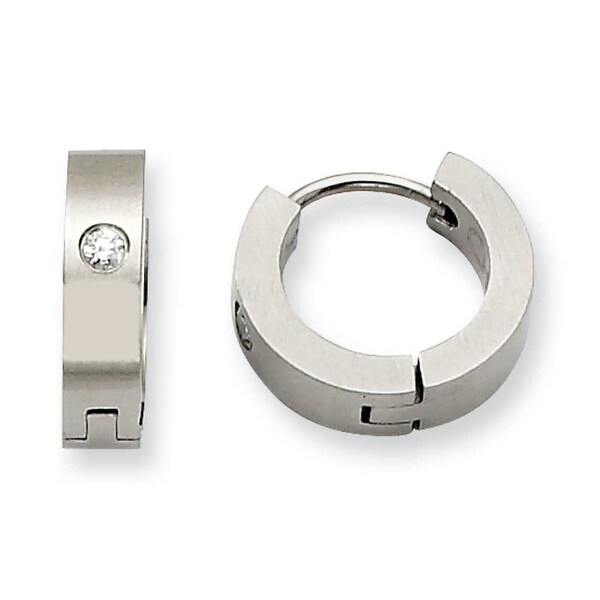 Chisel Stainless Steel with CZ Satin Hinged Hoop Earrings